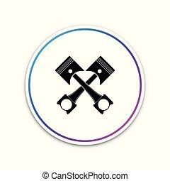 moteur, button., pistons, deux, illustration, isolé, arrière-plan., vecteur, traversé, cercle blanc, icône