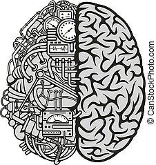 moteur, calculer, cerveau, combiné, humain, icône