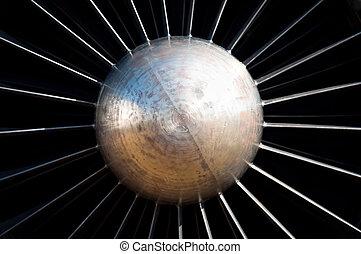 moteur, centré, turbine, jet, vue