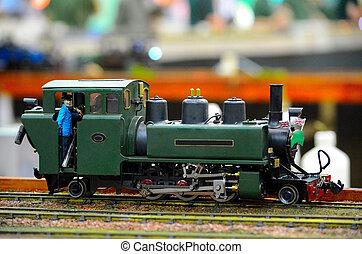 moteur, chauffeur, modèle, train vapeur