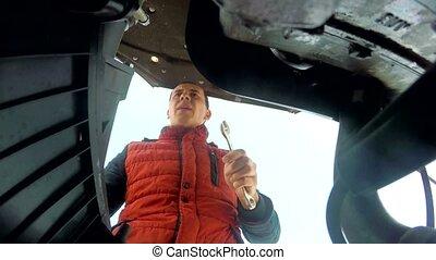 moteur, clã©, réparation, homme, mécanicien, voiture, hd, virages