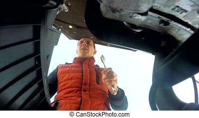 moteur, clã©, réparation, homme, mécanicien, voiture, virages
