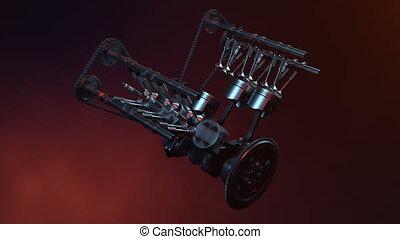 moteur, combustion, animaion, camshaft, mouvement,...