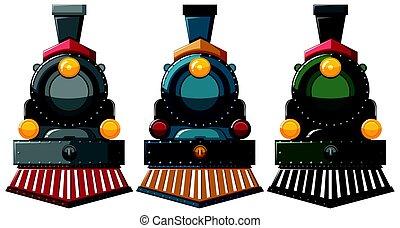moteur, conceptions, couleurs, trois, vapeur