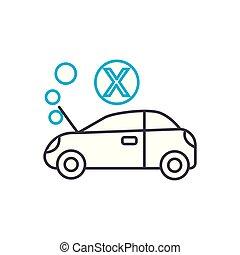 moteur, contour, illustration, signe, symbole, coup, vecteur, mince, icon., surchauffe, ligne, concept., linéaire