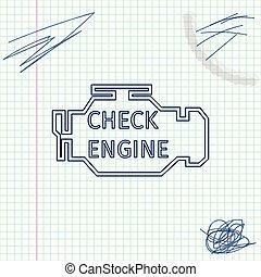 moteur, croquis, isolé, illustration, chèque, arrière-plan., vecteur, ligne blanche, icône
