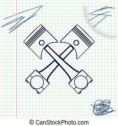 moteur, croquis, pistons, deux, illustration, isolé, arrière-plan., vecteur, traversé, ligne, blanc, icône