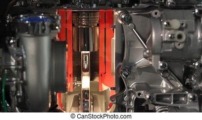 moteur, cylindre, travail