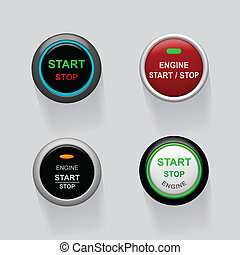 moteur, début, arrêt, boutons