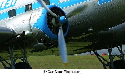 moteur, début, avion