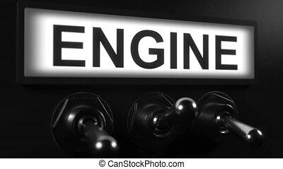 moteur, début, interrupteur à bascule