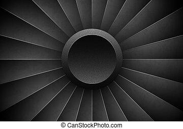 moteur, détaillé, turbine, jet, turbo, avion, horizontal, illustration, arrière-plan., avion, vecteur, ventilateur, machinerie, moteur, devant, vue., power., avion