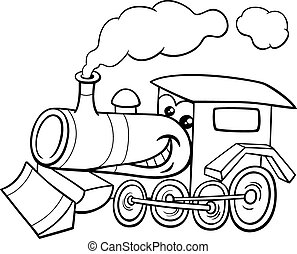 moteur, dessin animé, coloration, vapeur, page