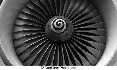moteur, devant, turbine, vue.