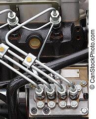 moteur, diesel, détail