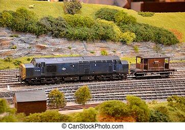 moteur, diesel-electric, modèle, rail
