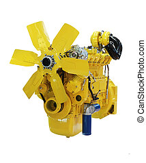 moteur, diesel, jaune