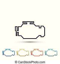 moteur, ensemble, couleur, isolé, icons., arrière-plan., éléments, vecteur, illustration, blanc, chèque, icône