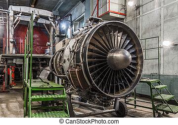 moteur, essence, détail, avion, turbine, hangar