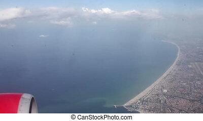 moteur, fenêtre, rivage, par, mer, avion, paysage, vue