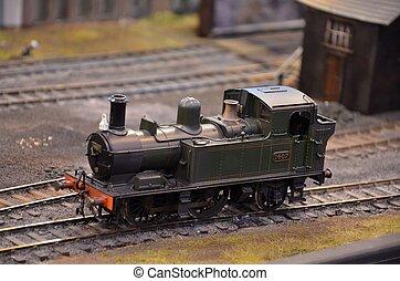 moteur, ferroviaire, modèle, vapeur, vert