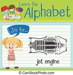 moteur, flashcard, j, lettre, jet