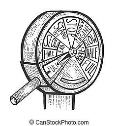 moteur, gravure, croquis, illustration., égratignure, planche, style, main, imitation., vecteur, télégraphe, dessiné, ordre, image.