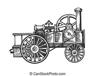 moteur, gravure, illustration, vecteur, vapeur, tracteur