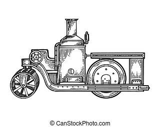 moteur, gravure, rouleau, vecteur, tracteur, vapeur, route