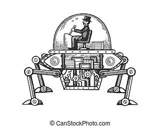 moteur, gravure, voiture, illustration, vecteur, vapeur