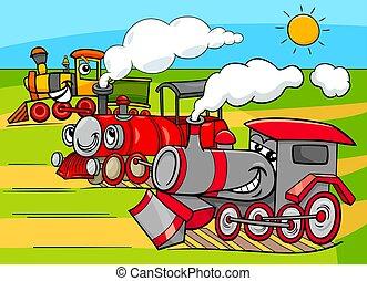 moteur, groupe, véhicules, vapeur, caractères, dessin animé