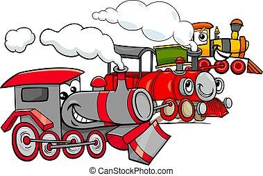 moteur, groupe, vapeur, caractères, dessin animé
