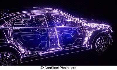 moteur, holographic, voiture, wireframe, animation, modèle, 3d