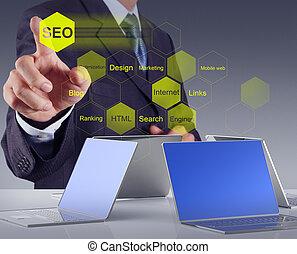 moteur, homme affaires, main, seo, projection, recherche, optimization