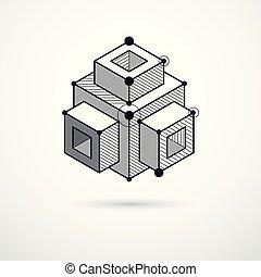 moteur, illustration., résumé, moderne, futuriste, formes, ...