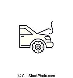 moteur, illustration., signe, concept., symbole, vecteur, surchauffe, ligne, icône, linéaire