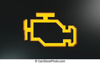moteur, indicateur, lumière, tiret, orange, chèque