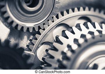 moteur, industriel, fond, roues pignon