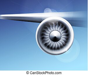 moteur, industry., gros plan, jet, motion., illustration, bleu, avion, vecteur, ventilateur, fond, turbine, lames, avion, circulaire