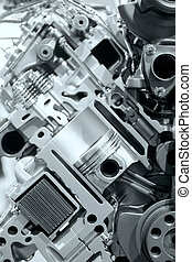 moteur, interne, détails, combustion
