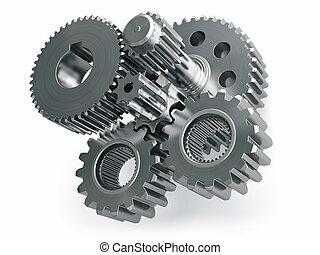 moteur, isolé, engrenages, fond, roues, roues dentées, blanc