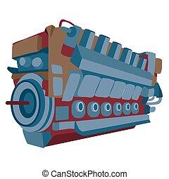 moteur, isolé, objet, moteur, blanc, vecteur, illustration, dessin animé, fond