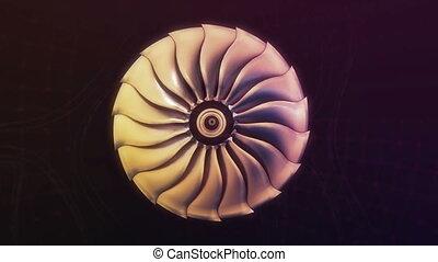 moteur, jet, avion ligne, métallique, avion, noir, nuit, ...