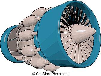 moteur, jet, importance, illustration, couleur, vecteur, ou