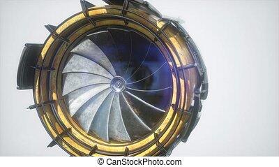 moteur, jet, parties, turbine