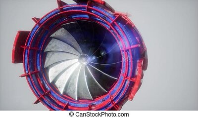 moteur, jet, turbine, parties