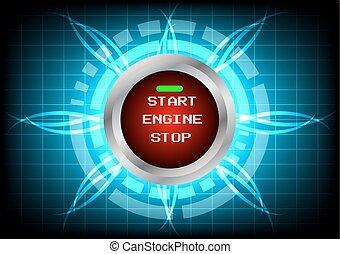moteur, lumière bleue, bouton, effet, début, abstrack, fond, technologie