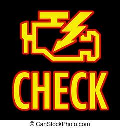 moteur, lumière, chèque