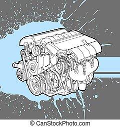 moteur, machine, combustion, interne