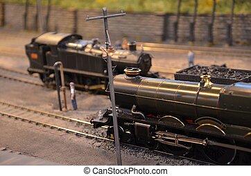 moteur, modèle, lumière, arrêts, train